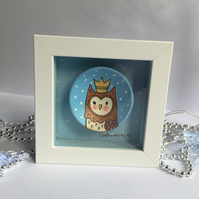Framed Festive Owl hand painted on a small wooden bowl.