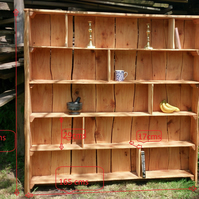 Rustic driftwood style book display shelf