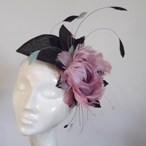Large Dusky Pink Feather Flower Rose Fascinator... - Folksy cece8e4ba0c