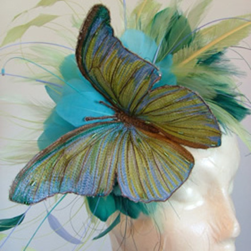 Large Green, Turquoise And Jade Butterfly Feather Fascinator