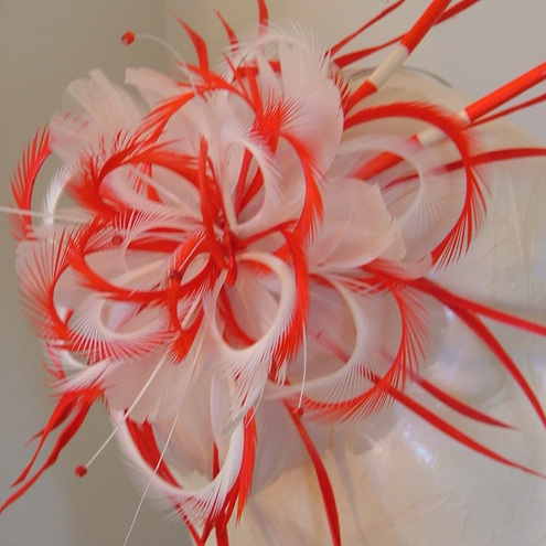 Large Red And Cream Feather Flower Fascinator