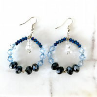 Shades of blue beaded round drop earrings
