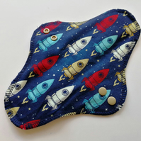 "10"" Sanitary Towel, Space Rockets, Cloth Pad, Sanitary Pad, CSP, moon cloth"