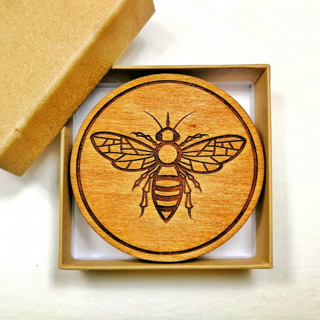 Engraved Wooden Coasters with Bee Design, Set of 4