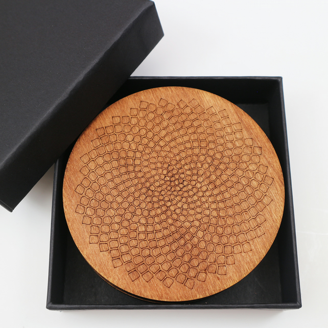 Round Wooden Coasters with Fibonacci Design, Set of 4