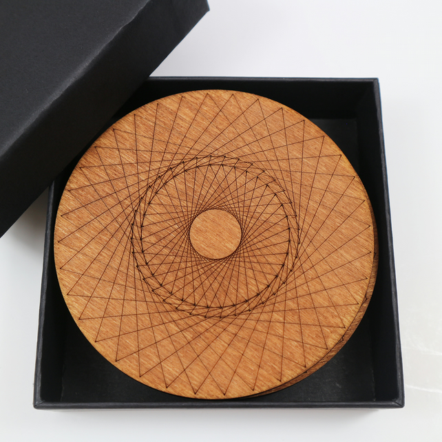 Round Wooden Coasters with Spirograph Design, Set of 4