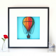 Framed Hot Air Baloon Papercut Picture
