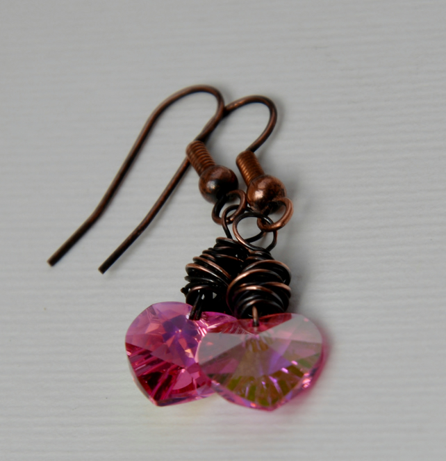 Crystal heart earrings.
