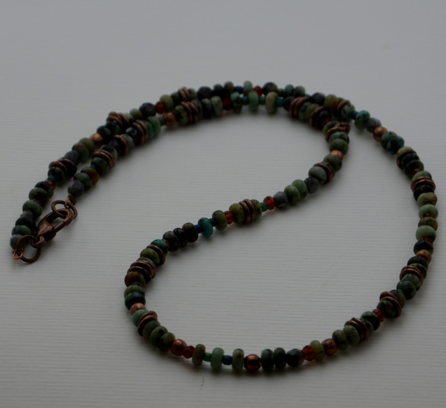 Necklace of African Turquoise, Garnet and Larvikite.