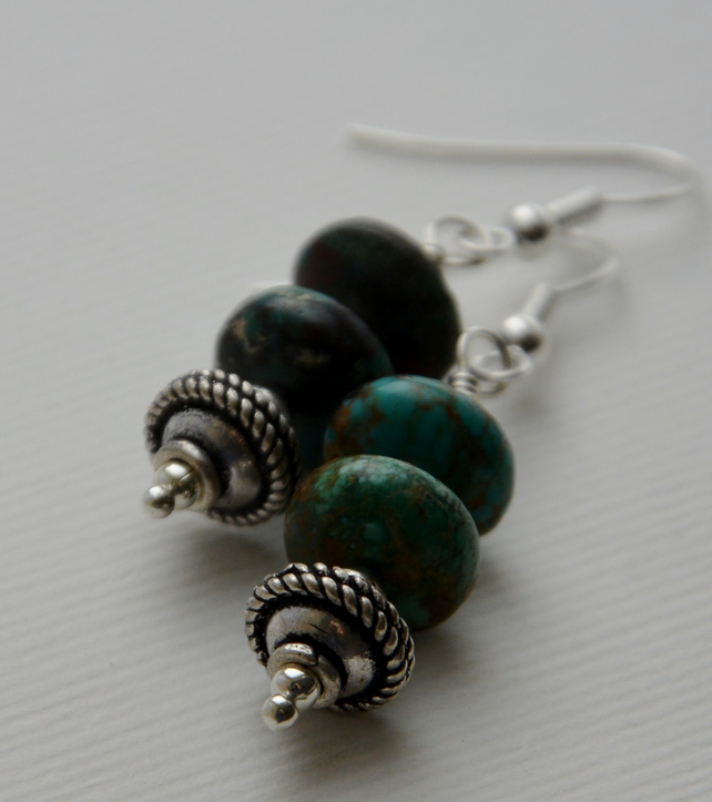 Natural turquoise earrings with silver.