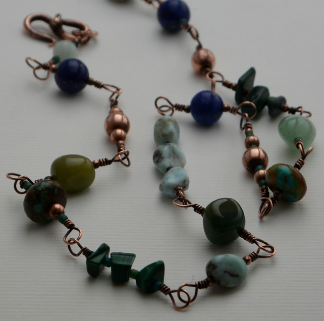 Gemstone necklace in sea greens and blues.