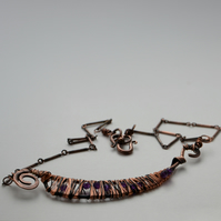 Copper and amethyst wire wrapped necklace.