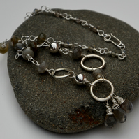 Sterling silver necklace with silver rings and grey labradorite.