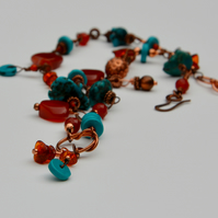 Jewel colours turquoise and burnt orange carnelian necklace.