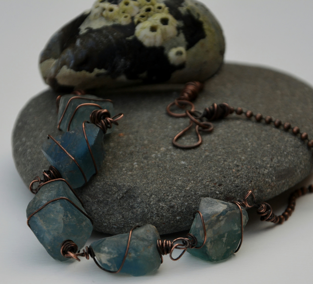 Blue raw fluorite necklace.