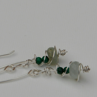 Silver earrings with blue opal and green malachite.