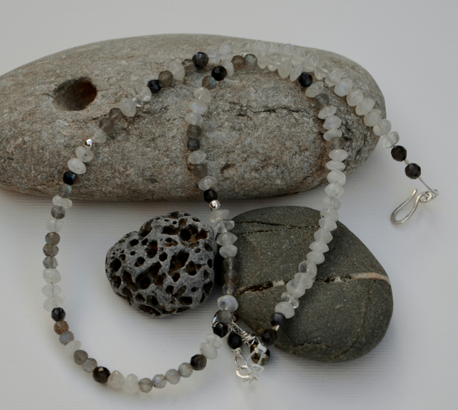 White, grey and sterling silver necklace.