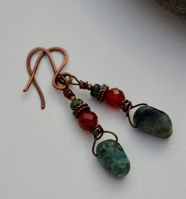 Gemstone earrings in green, grey and orange with copper.