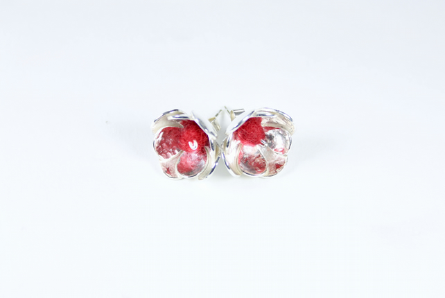 Spring Summer Silver Flower Earrings with Red Felt Beads