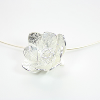 Handmade Large Silver Flower Choker Necklace