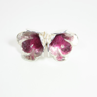 Handmade Silver Flower Stud Earrings with Fuchsia Felt Bead