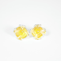 Modern Silver Flower Stud Earrings with Felt Beads