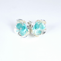 Contemporary 3D Silver Stud Floral Earrings with Turquoise Felt Beads