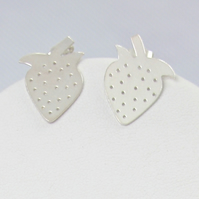 Summer Strawberry Silver Stud Earrings