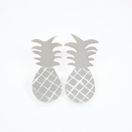 Silver Tropical Pineapple Stud Earrings