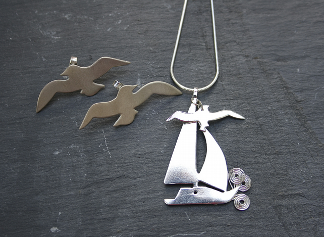 Nautical Seaside Silver Sailboat Pendant with Seagull Charm