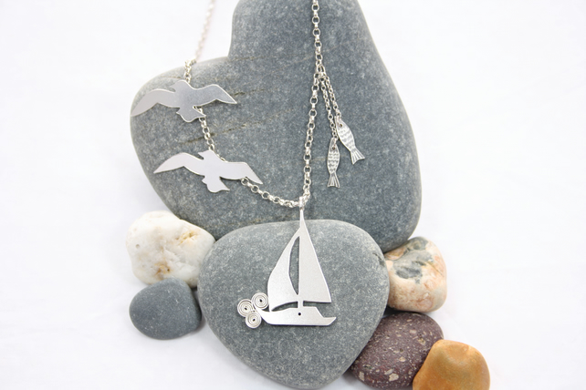 Statement Seaside Scene Sailboat Silver Necklace