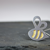 Handmade Silver Bumble Bee Pendant with Gold Leaf Stripes