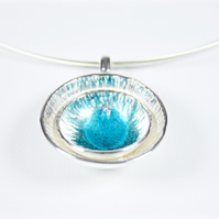 Handmade Textured Silver Statement Necklace with Turquoise Felt Bead