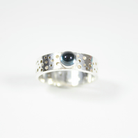 Handmade Silver Ring with Drilled Hole Pattern and 5mm London Blue Topaz
