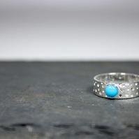 Handmade Silver Ring with Drilled Hole Pattern and 5mm Turquoise Gemstone