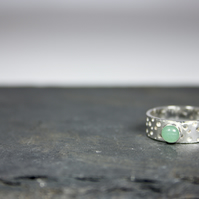 Handmade Silver Ring with Drilled Hole Pattern and 5mm Aventurine Gemstone