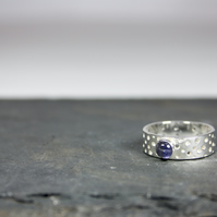 Made by Hand Silver Ring with Lacy Drilled Hole Pattern and 5mm Violet Iolite