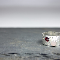 Chunky Handmade Patterned Silver Ring with Rose Quartz and Garnet Stones