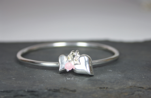 Solid Silver Keepsake Bangle with 2 Heart Charms and Rose Quartz Bead