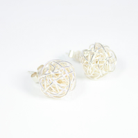 Handmade Silver Wire Bead Stud Earrings