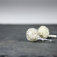 Delicate Silver Wire Bead Dropper Earrings Handmade