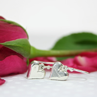Solid Silver Hand Cast Heart Dropper Earrings Valentine's Day