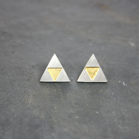 Geometric Silver Triangle Stud Earrings with Gold Leaf Details