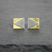 Geometric Triangle and Square Silver Stud Earrings with Gold Leaf