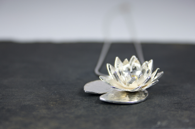 Water Lily Pendant, Summer Flower Necklace