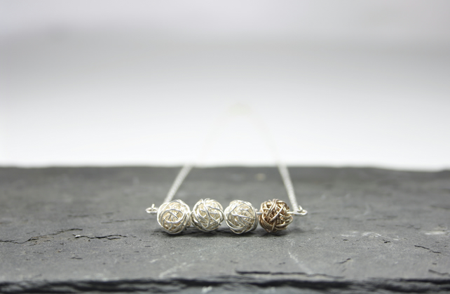 Four Wire Bead Necklace, Modern Dainty Silver and Gold Jewellery