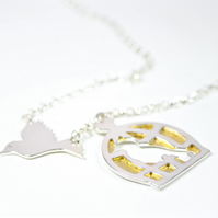 Flying Bird, Empty Birdcage Necklace Handmade Silver Necklace with Gold Leaf