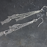 Long Dangly Silver Fish Earrings