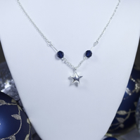 Hand Cast Small Christmas Star Twinkle Necklace with Swarovski Indigo Beads
