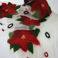 Handmade Poinsettia Patterned Silk and Felt Scarf